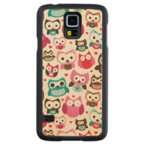 colorful owl pattern carved maple galaxy s5 slim case