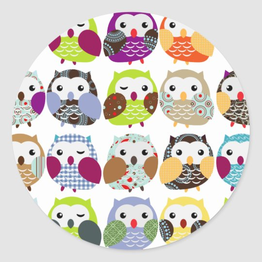 Colorful Owl Pattern Classic Round Sticker