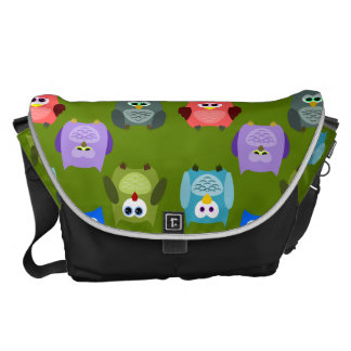 Colorful Owl Pattern Courier Bag