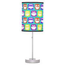 Colorful Owl Pattern Desk Lamp