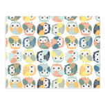 Colorful Owl Pattern - dusty pastels Postcard