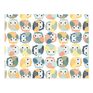Colorful Owl Pattern - dusty pastels Postcard