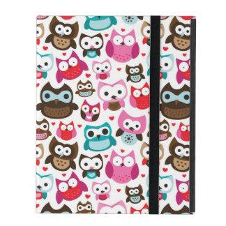 colorful owl pattern iPad case