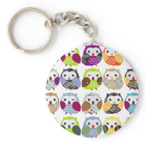 Colorful Owl Pattern Keychain