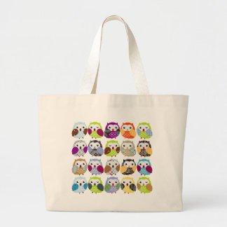 Colorful Owl Pattern Large Tote Bag