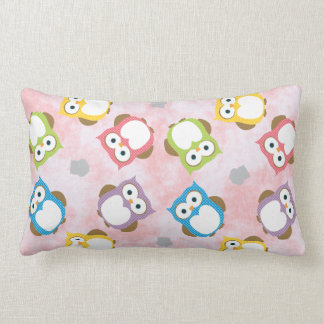 Colorful Owl Pattern Throw Pillows