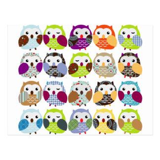 Colorful Owl Pattern Postcard