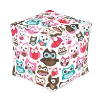 colorful owl pattern pouf