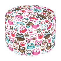 colorful owl pattern pouf