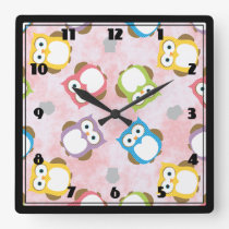 Colorful Owl pattern Square Wall Clock