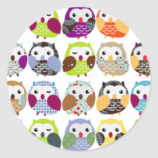 Colorful Owl Pattern Stickers