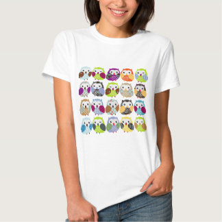 Colorful Owl Pattern T Shirt
