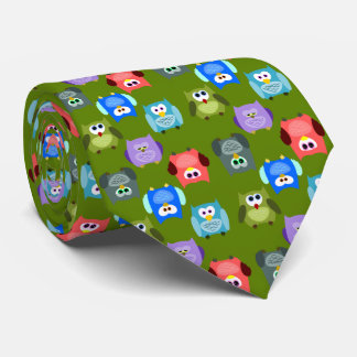 Colorful Owl Pattern Tie