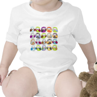 Colorful Owl Pattern T Shirts