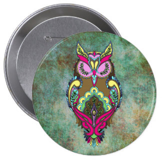 Colorful Owl Pink Teal Coloring Book Button