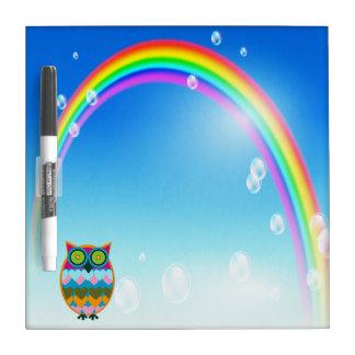 Colorful Owl & Rainbow Dry Erase Board