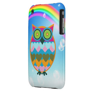 Colorful Owl & Rainbow iPhone 3G Case iPhone 3 Cases