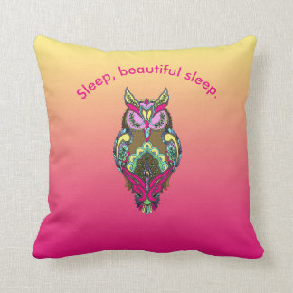 Colorful Owl Teal Pink Yellow Ombre template Throw Pillow