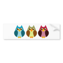 Colorful Owl Trio Bumper Sticker