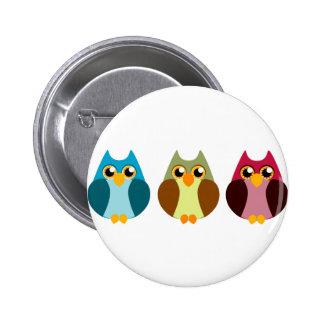 Colorful Owl Trio Button