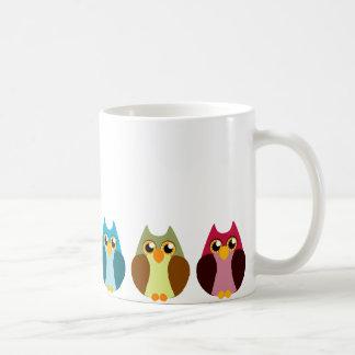 Colorful Owl Trio Classic White Coffee Mug