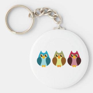 Colorful Owl Trio Basic Round Button Keychain