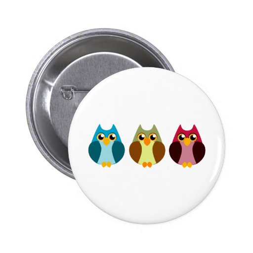 Colorful Owl Trio Pinback Buttons