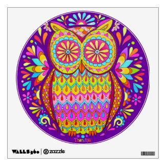 Colorful Owl Wall Decal - Cute Groovy Owl Art