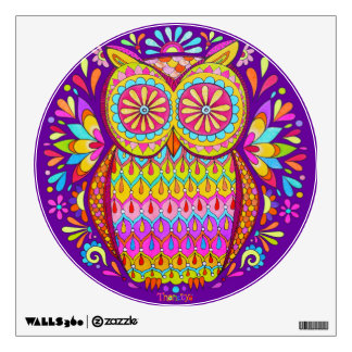 Colorful Owl Wall Decal - Cute Groovy Owl Art