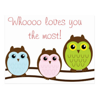 Colorful Owl Who Loves You Most Note Cards