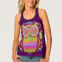 Colorful Owl Women's Tank Top - Groovy Retro Owl