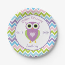 Colorful owl, zigzag pattern baby shower Plate