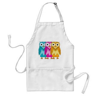 Colorful Owls Adult Apron