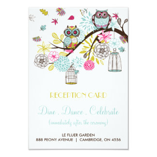 Colorful Owls and Falling Leaves Reception Card