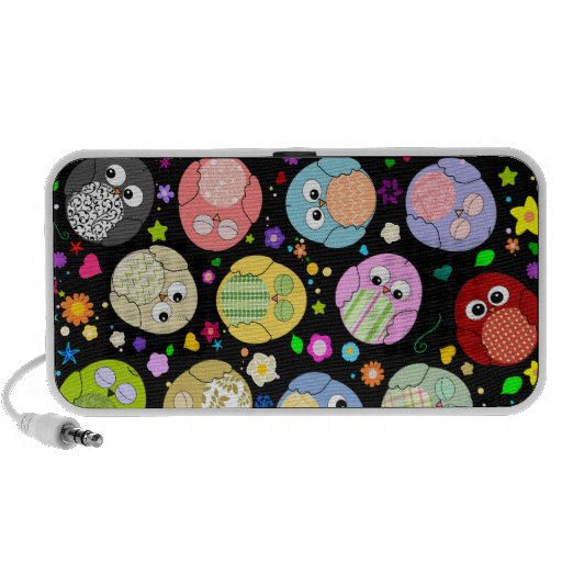 Colorful Owls and Flowers Design Mini Speaker