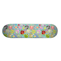Colorful Owls and Flowers Design Skateboard