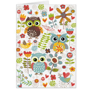 Colorful Owls and Flowers Happy Card