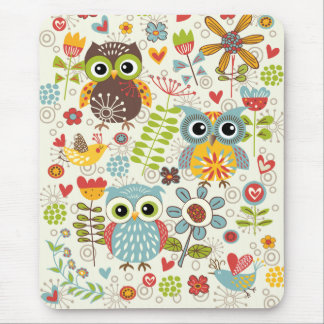 Colorful Owls and Flowers Happy Mousepad