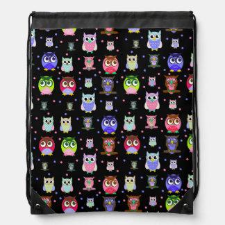 Colorful Owls and Polka Dots Drawstring Backpack