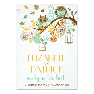 Colorful Owls Autumn / Fall Wedding Invitation