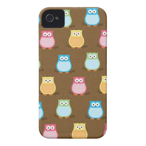 Colorful Owls Blackberry Phone Case - Brown Case-Mate Blackberry Case