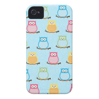 Colorful Owls Blackberry Phone Case - Light Blue