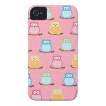 Colorful Owls Blackberry Phone Case - Light Pink
