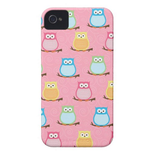 Colorful Owls Blackberry Phone Case - Light Pink Blackberry Bold Covers
