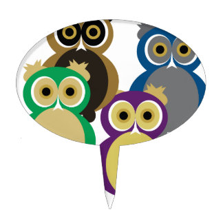 Colorful Owls Cake Topper
