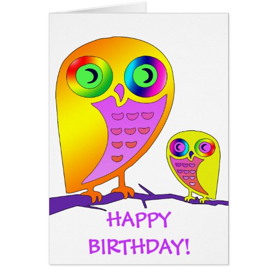 Colorful Owls Card