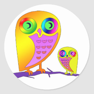 Colorful Owls Classic Round Sticker