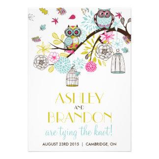 Colorful Owls Falling Leaves Wedding Invitation
