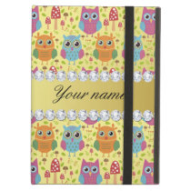Colorful Owls Faux Gold Foil Bling Diamonds Cover For iPad Air