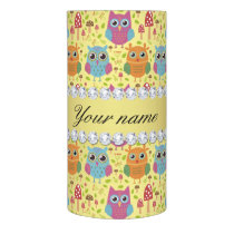 Colorful Owls Faux Gold Foil Bling Diamonds Flameless Candle